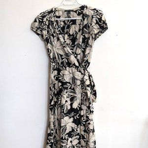 Banana Republic midi wrap dress, black and cream